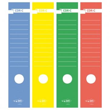 Copridorso CDR C - carta autoadesiva - giallo - 7x34,5 cm - Sei Rota - conf. 10 pezzi