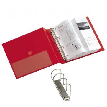 Raccoglitore Stelvio - 4 anelli a D 50 mm - dorso 7,5 cm - 22x30 cm - rosso - Sei Rota