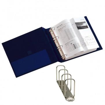 Raccoglitore Stelvio - 4 anelli quadri 65 mm - dorso 9 cm - 22x30 cm - blu - Sei Rota