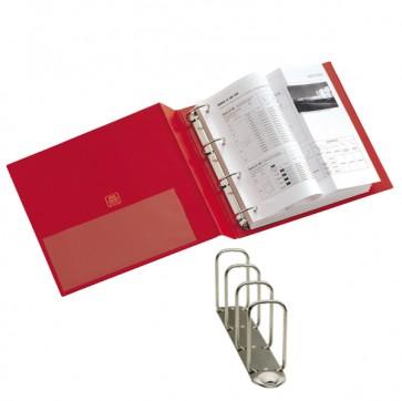 Raccoglitore Stelvio - 4 anelli quadri 65 mm - dorso 9 cm - 22x30 cm - rosso - Sei Rota