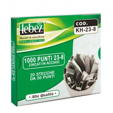 Punti KH - 23/20 - alti spessori - acciaio zincato - metallo - Lebez - conf. 1000 pezzi