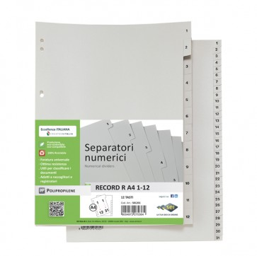 Separatore numerico 1/31 Record R - PPL - 21x29,7 cm - A4 - grigio - Sei Rota