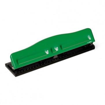 Perforatore 840 - massimo 8 fogli - 4 fori regolabili - passo 6/8 cm - verde - Lebez