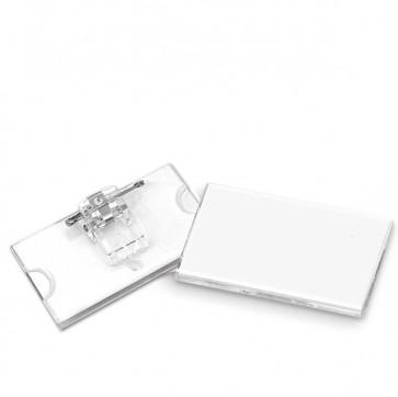 Portabadge con clip e spilla - 6,5x3 cm - Lebez