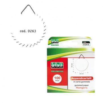 Appendicartelli adesivi - 2 cm - carta gommata - bianco - Lebez - conf. 100 pezzi