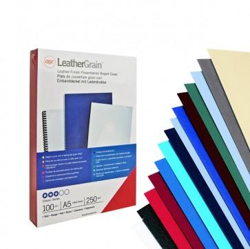 Copertine LeatherGrain - A4 - 250 gr - verde scuro goffrato - GBC - scatola 100 pezzi