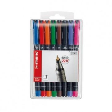 Pennarello OHPen universal permanente 841 - punta superfine 0,4mm  - astuccio 8 colori - Stabilo