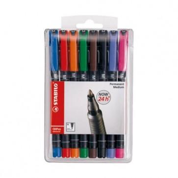 Pennarello OHPen universal permanente 843 - punta media 1,0mm - astuccio 8 colori  - Stabilo