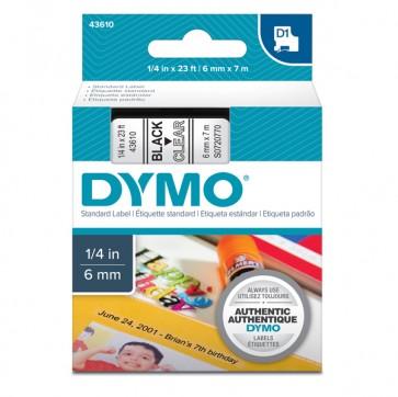 Nastro D1 436100 - 6 mm x 7 mt - nero/trasparente - Dymo