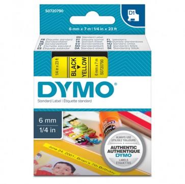 Nastro D1 436180 - 6 mm x 7 mt - nero/giallo - Dymo