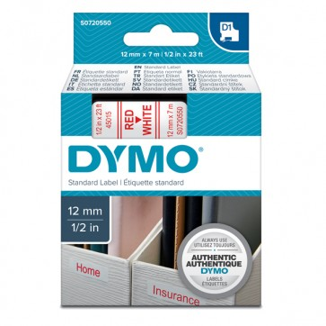 Nastro D1 450150 - 12 mm x7 mt - rosso/bianco - Dymo