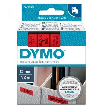 Nastro D1 450170 - 12 mm x 7 mt - nero/rosso - Dymo