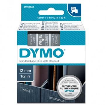 Nastro D1 450200 - 12 mm x 7 mt - bianco/trasparente - Dymo