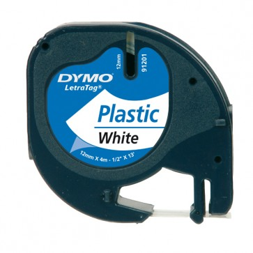 Nastro Letratag 912010 - in plastica - 12 mm x 4 mt - bianco - Dymo