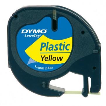 Nastro Letratag 912020 - in plastica - 12 mm x 4mt - giallo - Dymo