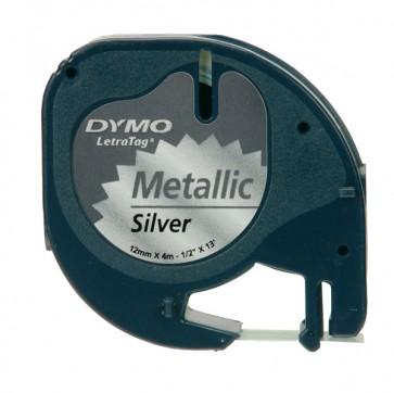 Nastro metallico Letratag 912080 - 12 mm x 4 mt - argento - Dymo