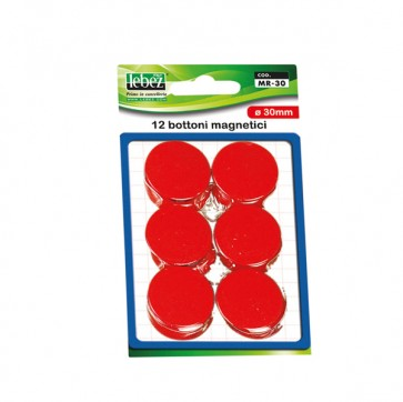 Bottoni magnetici - nero - diametro 30 mm - Lebez - blister 12 pezzi