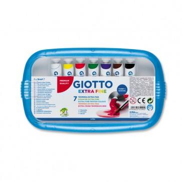 Astucci tubi tempere - 12ml - colori assortiti - Giotto - box da 7 tubetti