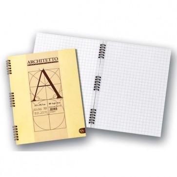 Blocco Architetto - 22x29,7cm - bianco - 40 fogli - 100gr - spiralato - Pigna