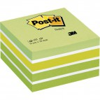 Post-it® Cubi Pastello - 76x76 mm - verde pastello, verde neon, 2 verde ultra, 3 bianco - 2028-G