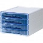 Cassettiera Olivia Arda - 4 cassetti piccoli - azzurro trasparente - TR 13P 4P BL