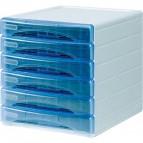 Cassettiera Olivia Arda - 6 cassetti piccoli - azzurro trasparente - TR13G6PBL