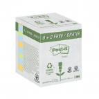 Foglietti Post-it® Notes  carta riciclata  Value Pack  - 76x76 mm - ass. pastello - 654-RCP10 (conf.10)