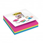 Cubo foglietti Post-it® Super Sticky - 101x101 mm - fucsia, giallo, blu meditteraneo - 2014- 4470-XLES (conf.3)