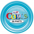 Stoviglie monouso in plastica colorata DOpla - turchese - Piatti piani - Ø 22 cm - 11397 (conf.30)