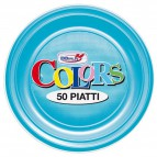 Stoviglie monouso in plastica colorata DOpla - turchese - Piatti frutta - Ø 17 cm - 01789 (conf.50)