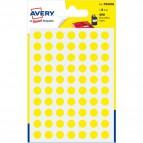 Etichette rotonde in bustina Avery - giallo - diam. 8 mm - 70 - PSA08J (conf.6)