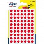 Etichette rotonde in bustina Avery - rosso - diam. 8 mm - 70 - PSA08R (conf.6)