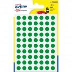 Etichette rotonde in bustina Avery - verde - diam. 8 mm - 70 - PSA08V (conf.6)