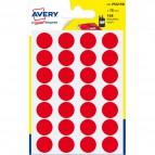 Etichette rotonde in bustina Avery - rosso - diam. 15 mm - 24 - PSA15R (conf.7)