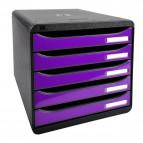 Cassettiera Iderama Exacompta - Box Glossy nero/Cassetti viola - 34,7x27,8x27,1 cm - 3097220D