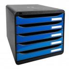 Cassettiera Iderama Exacompta -  Glossy nero/Cassetti blu ghiaccio glossy - 34,7x27,8x27,1 cm - 3097279D