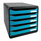 Cassettiera Iderama Exacompta - Box Glossy nero/Cassetti turchese glossy - 34,7x27,8x27,1 cm - 3097282D