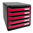 Cassettiera Iderama Exacompta -  Box Glossy nero/Cassetti lampone glossy - 34,7x27,8x27,1 cm - 3097284D