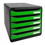 Cassettiera Iderama Exacompta - Box Glossy nero/Cassetti verde mela glossy - 34,7x27,8x27,1 cm - 3097295D