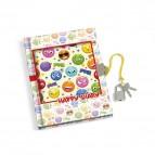 Diario con lucchetto Smile Lebez - cartoncino - assortiti a tema Smile - 13x18 cm - 4497