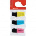 Evidenziatore BOSS® MINI Stabilo - giallo, azzurro, rosa - 2-5 mm - 07/3- 07/03-12 (conf.3)