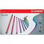 Pennarelli Stabilo Pen 68 in Scatola metallo 2 ripiani - assortiti -1 mm-da 7 anni - 6840-6 (conf.40)