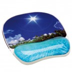Mousepad con poggiapolsi Photo Gel Fellowes - spiaggia tropicale - 9202601