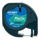 Nastro Letratag 912040 - in plastica - 12 mm x 4mt - verde - Dymo
