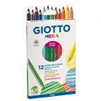 Mega pastelli colorati - esagonale da 9mm lughezza 18cm e mina Ø 5,5mm  - Giotto - astuccio 12 colori