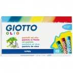 Pastelli a olio - lunghezza 70mm con Ø 11mm - colori assortiti - Giotto - astuccio 12 colori