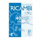 Ricambi forati Quaxima - A5 - quadretti 5 mm - 80gr - 40 fogli - Pigna