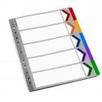 Separatore - cartoncino - 5 tasti colorati - A4 - multicolore - Rexel