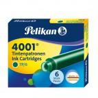 Cartucce inchiostro 4001 (TP/6)  - lunghezza 39mm - verde scuro - Pelikan  - conf. 6 pezzi