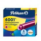 Cartucce inchiostro 4001 (TP/6) - lunghezza 39mm - rosa - Pelikan  - conf. 6 pezzi